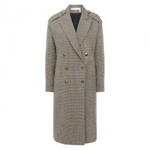 Шерстяное пальто Chloé. Цвет: зелёный
