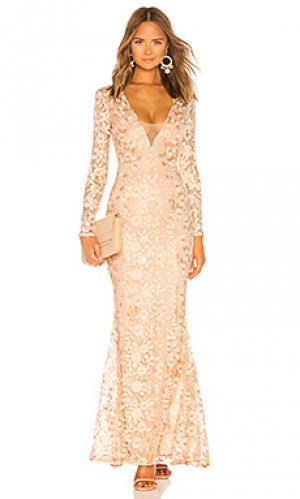 Вечернее платье genner Michael Costello. Цвет: розовый