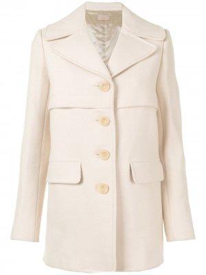 Однобортное пальто pre-owned Alaïa. Цвет: нейтральные цвета