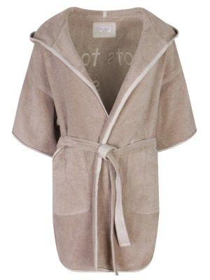 Банный халат с вышивкой BRUNELLO CUCINELLI. Цвет: бежевый