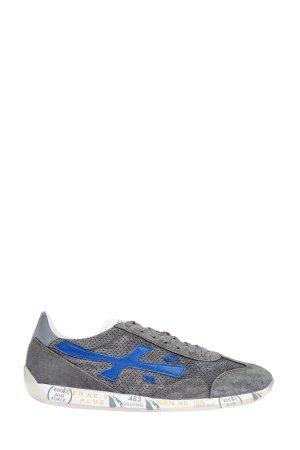 Замшевые кроссовки с перфорацией подошвой в стиле ретро PREMIATA. Цвет: серый