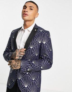 Темно-синий костюмный пиджак с фольгированным геометрическим узором серебристого цвета Twisted Tailor