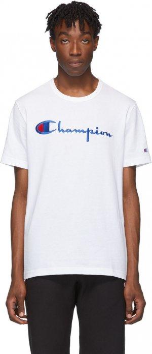 White Big Script T-Shirt Champion Reverse Weave. Цвет: 100 white