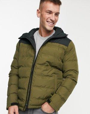 Дутая куртка колор блок -Зеленый Fat Moose