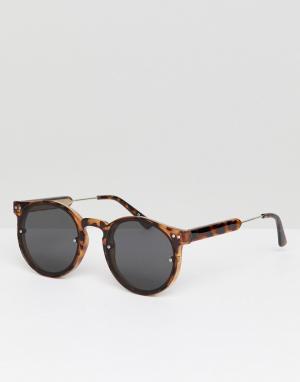 Черные круглые солнцезащитные очки в черепаховой оправе Spitfire. Цвет: черный