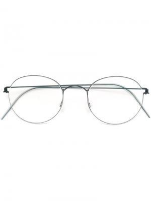 Оптические очки в круглой оправе Lindberg. Цвет: синий