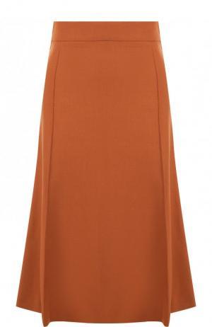 Однотонная юбка-миди из шерсти Chloé. Цвет: светло-коричневый