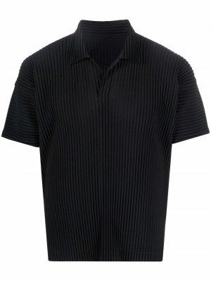 Pleated short-sleeve polo shirt Issey Miyake. Цвет: черный