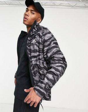 Черная куртка-дождевик с тигровым камуфляжным принтом adidas Outdoors Terrex-Черный цвет performance