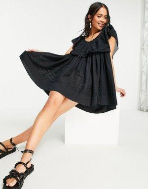 Черное платье мини с открытыми плечами Hailey-Черный цвет Free People