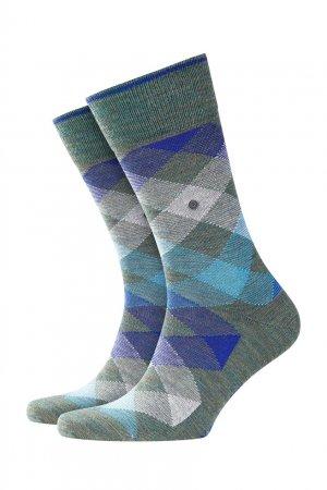 Серые носки с узорами Burlington. Цвет: зеленый