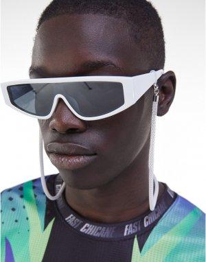 Солнцезащитные очки в белой оправе с цепочкой -Белый Bershka