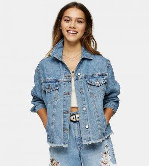 Синяя джинсовая oversized-куртка -Голубой Topshop Petite
