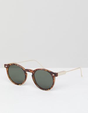 Солнцезащитные очки в круглой черепаховой оправе Spitfire. Цвет: коричневый