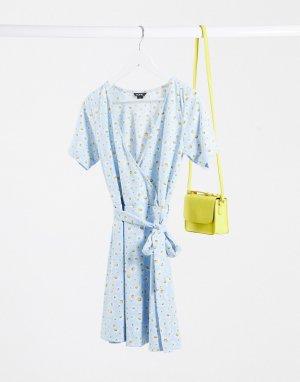 Голубое платье с цветочным принтом -Синий Monki
