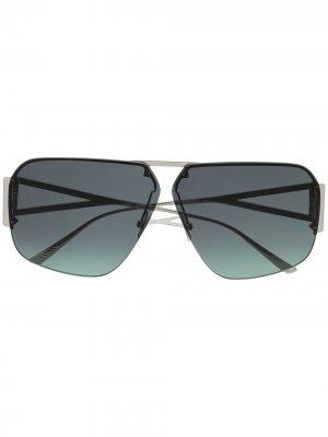 Массивные солнцезащитные очки-авиаторы Bottega Veneta Eyewear. Цвет: синий