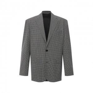 Шерстяной пиджак Balenciaga. Цвет: серый