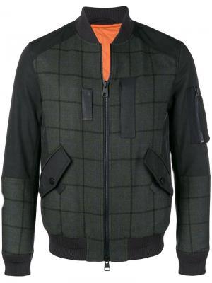 Куртка-бомбер в клетку Etro. Цвет: зеленый