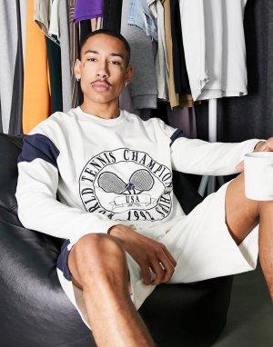Пижамный комплект для дома из шорт и свитшота с теннисным принтом -Черный ASOS DESIGN