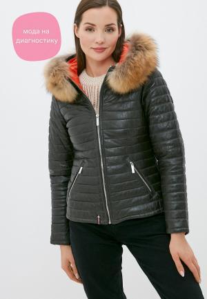 Куртка кожаная Oakwood HAPPY. Цвет: хаки