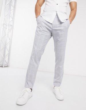 Узкие брюки в клетку синего/серого цвета -Серый Esprit
