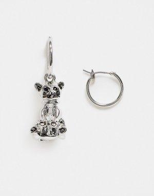 Серебристые серьги-кольца диаметром 12 мм с кошкой -Серебристый ASOS DESIGN