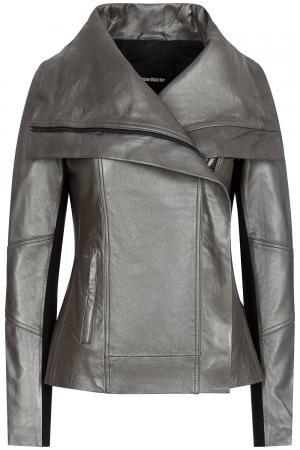 Кожаная куртка с отделкой трикотажем La Reine Blanche