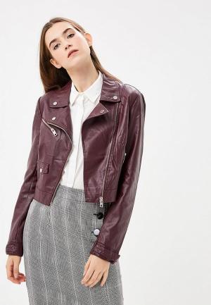Куртка кожаная Silvian Heach. Цвет: бордовый