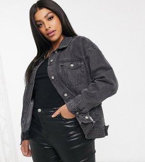 Черная джинсовая oversized-куртка со рваной отделкой -Черный Missguided Plus