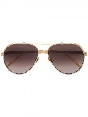 Солнцезащитные очки-авиаторы Newman Linda Farrow. Цвет: золотистый