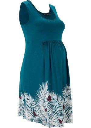 Платье для беременных bonprix. Цвет: сине-зеленый