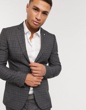 Светло-серый приталенный пиджак в клетку Avail London