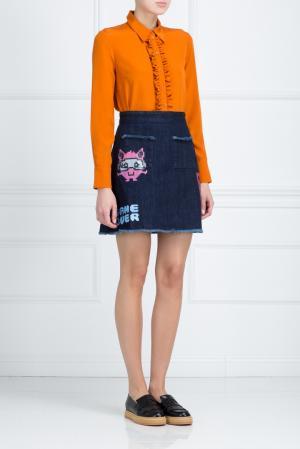 Шелковая блузка Lola American Retro. Цвет: оранжевый