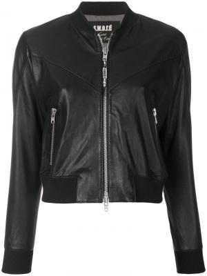 Укороченная куртка на молнии S.W.O.R.D 6.6.44. Цвет: чёрный
