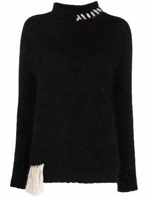 Джемпер с декоративной строчкой Alysi. Цвет: черный