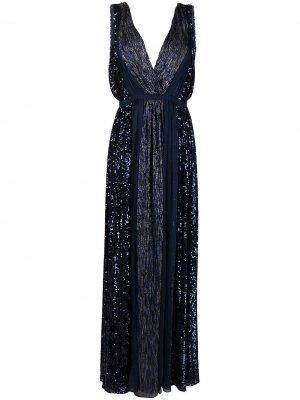 Длинное платье с пайетками Azzaro. Цвет: синий