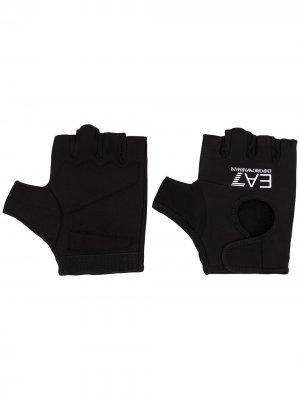 Перчатки-митенки с логотипом Ea7 Emporio Armani. Цвет: черный
