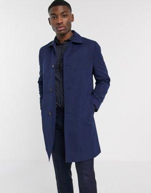 Темно-синий непромокаемый макинтош Moss London BROS