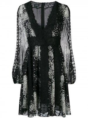 Короткое платье с принтом Giambattista Valli. Цвет: черный