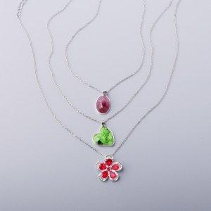 3шт Ожерелье с цветком SHEIN. Цвет: многоцветный