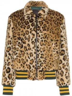 Леопардовый бомбер из коллаборации с Alison Mosshart R13. Цвет: коричневый