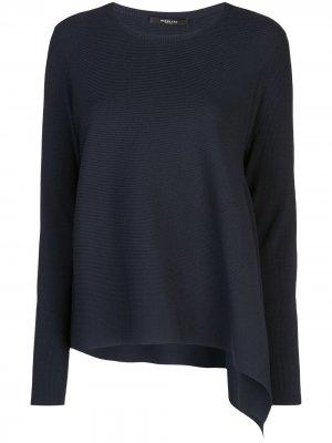 Трикотажный пуловер асимметричного кроя с длинными рукавами Derek Lam. Цвет: синий