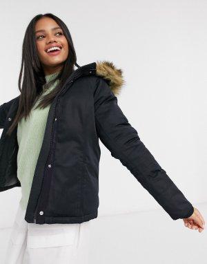 Черная куртка с искусственным мехом на каблуке -Черный Abercrombie & Fitch