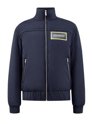 Куртка в стиле бомбера из ветрозащитного нейлона BIKKEMBERGS. Цвет: синий