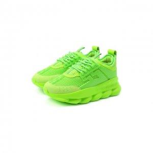 Текстильные кроссовки Chain Reaction Versace. Цвет: зелёный