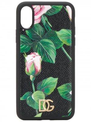 Чехол для iPhone XS с принтом Tropical Rose Dolce & Gabbana. Цвет: черный