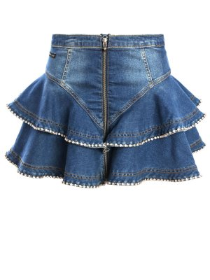 Джинсовая юбка-мини с оборками PHILIPP PLEIN