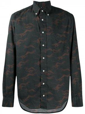 Рубашка с принтом Gitman Vintage. Цвет: черный