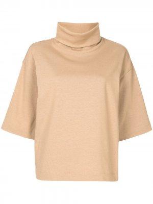 Толстовка с короткими рукавами и высоким воротником Tibi. Цвет: коричневый