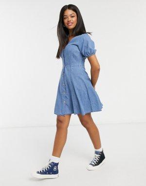 Синее мягкое джинсовое чайное платье -Синий ASOS DESIGN